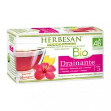 Herbesan Infusion BIO N°5 - Drainante Saveur Mangue 20 Sachets