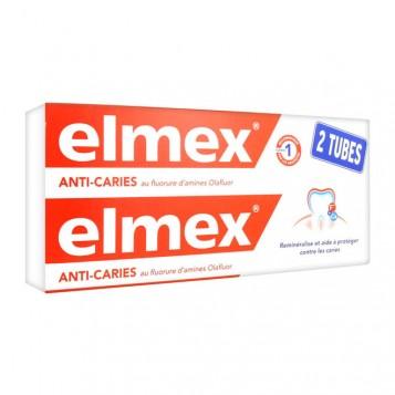 Elmex Anti-Caries - Dentifrice - DUO 2 x 75 ml Au fluorure d'amines Olafluor Reminéralise et aide à protéger contre les caries 4007965507335
