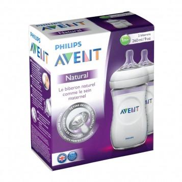 Avent Biberons Natural - 260 ml - DUO 2 biberons 260 ml Natural 1 mois + Verre pur et résistant Nouveau système anti-coliques perfectionné 0% BPA 8710103561958