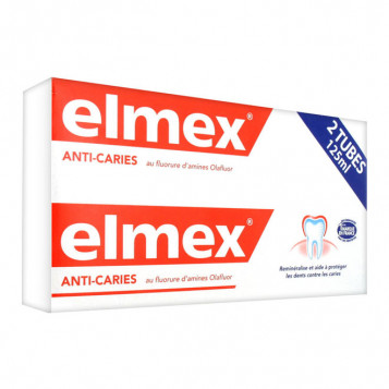 Elmex Anti-Caries - Dentifrice - DUO - 2 x 125 ml Au fluorure d'amines Olafluor Reminéralise et aide à protéger contre les caries 8718951031630
