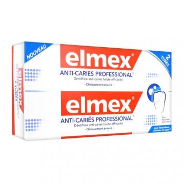 Elmex Anti-Caries Professional - Dentifrice DUO 2 x 75 ml Dentifrice anti-caries haute efficacité Pour des dents plus fortes Avec neutraliseur d'Acides de Sucre 8718951058446