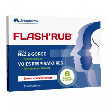 Arkopharma Flash' Rub 15 Comprimés Agit sur le nez et la gorge ainsi que les voies respiratoires Sans somnolence A partir de 12 ans