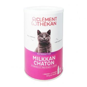 Clément Thékan Reproduction - Milkkan Chaton 400g Pour chatons Lait maternisé Vitamines et protéines Fourni avec 1 biberon + 2 tétines