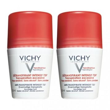 Vichy Détranspirant Intensif 72h - Roll On DUO Transpiration excessive Peau sensible Sans alcool Sans paraben