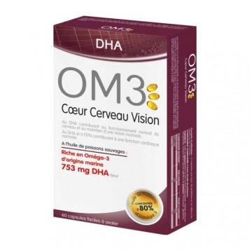 Isodis Natura OM3 Coeur Cerveau VIsion - 60 Capsules DHA A l'huile de poisson sauvages : Riche en Oméga-3 d'origine marine 7553mg DHA / jour 3428883939007