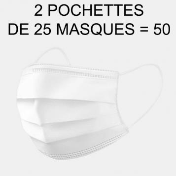 Masque Chirurgical Stérile 3 Plis Type IIR - 2 Pochettes de 25 Masques = 50 Masques