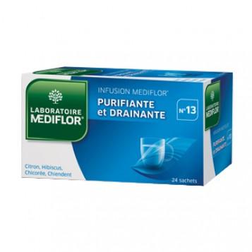 Mediflor Infusion Purifiante et Drainante n°13 24 Sachets Contient de l'hibiscus pour  stimuler les fonctions d'élimination et contribuer au drainage de l'oraganisme