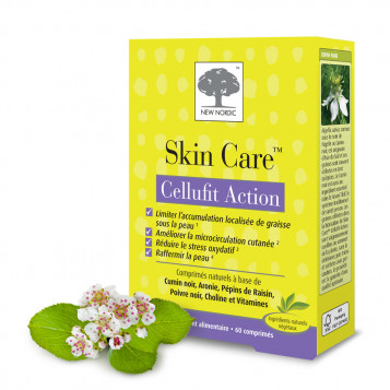 New Nordic Skin Care Cellufit Action 60 Comprimés Action anti-cellulite Limiter l'accumulation localisée de graisse sous la peau Améliorer la microcirculation cutanée Réduire le stress oxydatif Raffermir la peau