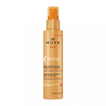 Nuxe Sun Huile Lactée Capillaire Protectrice Hydratante 100 ml Protection et réparation des cheveux et du cuir chevelu, multi-protections UV, sel et chlore