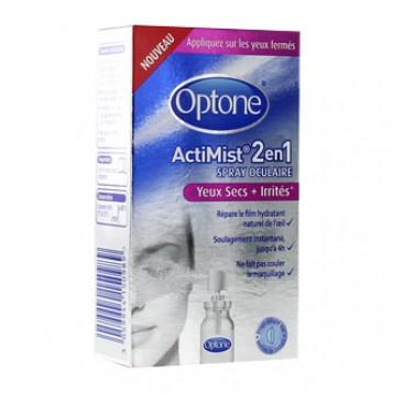 Optone ActiMist 2 en 1 Spray Oculaire Yeux Secs et Irrités 10 ml Appliquez sur les yeux fermés Usage adapté aux lentilles de contact Répare le film hydratant naturel de l'oeil Soulage instantanément jusqu'à 4h Ne fait pas couler le maquillage