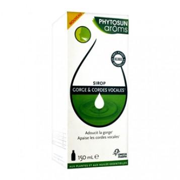 Phytosun Aroms Sirop Gorge & Cordes Vocales 150 ml Adoucit la gorge Apaise les cordes vocales BIO 100% huiles essentielles HEBBD A partir de 12 ans
