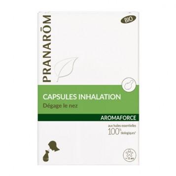 Pranarôm Aromaforce - Capsules Inhalation BIO - 15 Capsules Dégage le nez Aux huiles essentielles 100% biologiques A partir de 12 ans 5420008518973
