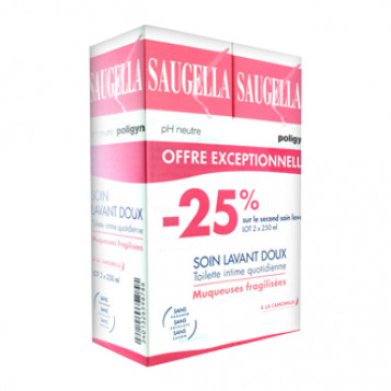 Saugella Poligyn Nettoyant Doux Lot de 2 avec -25% sur le second soin lavant Offre Spéciale Muqueuses Fragiles ou Asséchées - Ph neutre