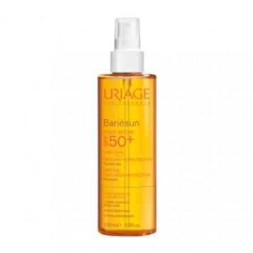 Uriage Bariésun Huile Sèche SPF50+ 200 ml Toucher sec Pour peaux sensibles Corps et cheveux Résistant à l'eau Hypoallergénique