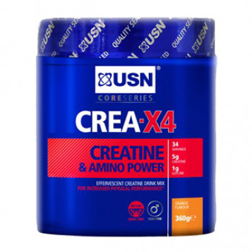 USN CREA - X4 Saveur Orange 360g Creatine & Amino Power 34 doses 5000 mg creatine 2000 mg glycine & taurine