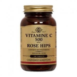 Solgar Vitamine C avec Rose Hips - 100 Comprimés Protège les cellules contre le stress oxydatif Réduit la fatigue 0033984023802