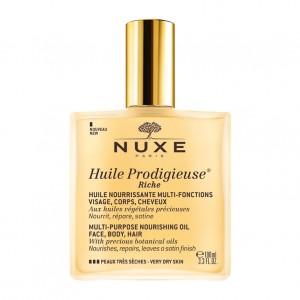 Nuxe Huile Prodigieuse Riche - 100 ml Nourrit, répare et satine Visage, corps, cheveux Peaux très sèches 3264680009808