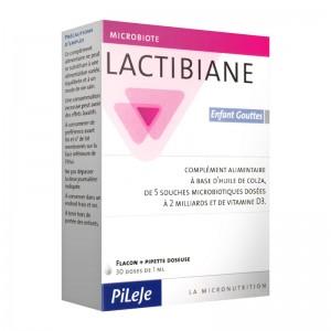 Pileje Lactibiane Enfant Gouttes 30 Doses de 1 ml Complément alimentaire à base d'huile de colza, de 5 souches microbiotiques dosées à 2 milliards et de vitamine D3 3401528537646