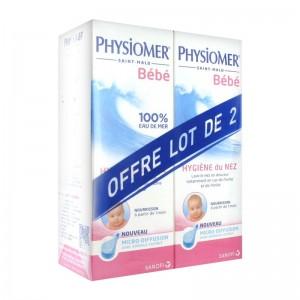 Physiomer Bébé - Micro-Diffusion DUO 2 x 115 ml A partir de 1 mois 100 % eau de mer naturelle Sans conservateur ni ajout de substance chimique Stérile pH optimal pour la muqueuse nasale 3401576080705