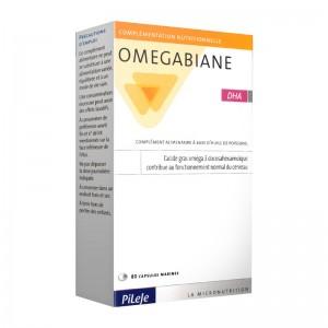 Pileje Omegabiane DHA - 80 Capsules  L'acide gras oméga 3 docosahexaénoïque contribue au fonctionnement normal du cerveau 3401599197046