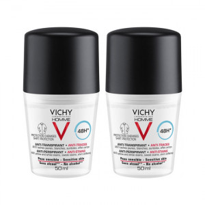 Vichy Homme Déodorant Anti-Transpirant 48H Anti-Traces - Roll-On - DUO 3433425221649