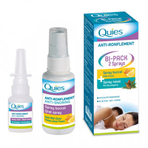 Quies Anti-Ronflement - Bi-Pack 2 Sprays Spray buccal + spray nasal Efficacité renforcée Bi-action : nez/gorge 3435171501006