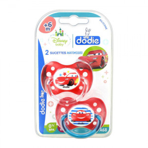 "Dodie 2 Sucettes Anatomiques Silicone +6 mois ""Disney Cars"" 3700763503165"