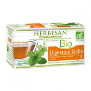 Herbesan Infusion BIO N°3 - Digestion Facile Saveur Menthe 20 Sachets