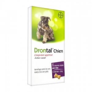 Bayer Drontal Chien -Comprimé Arôme Viande - 6 Comprimés Vermifuge contre les vers ronds et les vers plats 2 comprimés sécables pour chien 1 comprimé = 10 kg 4007221040071