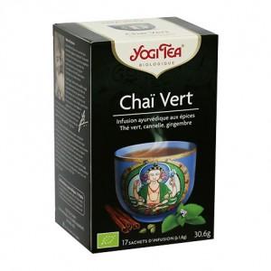 Yogi Tea Chaï Vert - 17 Sachets Infusion ayurvédique aux plantes Thé vert, cannelle, gingembre Délicieux, relaxant, unique 4012824402645