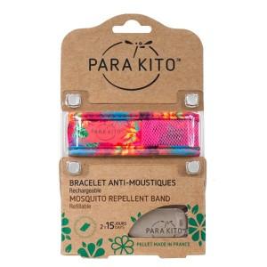 Parakito Bracelet Anti-Moustique Bracelet Anti-Moustique Tropical Trend Summer Time Pour toute la famille Avec 2 recharges soit 2 x 15 jours Résistant à l'eau