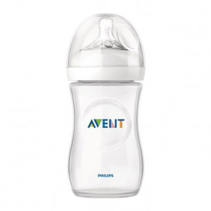 Avent Biberon Natural - 260 ml Natural 1 mois + Verre pur et résistant Nouveau système anti-coliques perfectionné 0% BPA 8710103561484