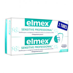 Elmex Sensitive Professional - Dentifrice - DUO 2 x 75 ml Soulage immédiatement et durable Formule Pro-Argin 8718951093560