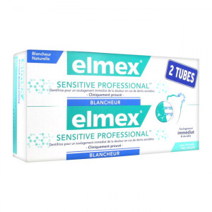 Elmex Sensitive Professional Blancheur - Dentifrice - DUO 2 x 75 ml Blancheur naturelle Soulage immédiatement et durable Formule Pro-Argin 8718951093607