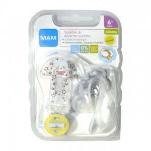 Mam Sucette 6+ mois & Attache Sucette - Ourson Sucette anatomique Longueur réglable Lavable 0% BPA