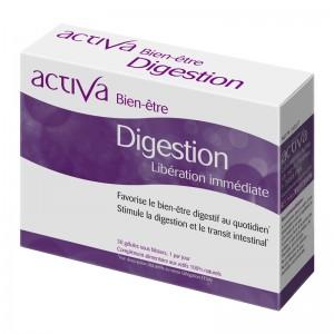 Activa Bien-Être - Digestion - 30 Gélules Libération immédiate Favorise le bien-être digestif au quotidien Stimule la digestion et le transit intestinal Aide à calmer les douleurs abdominales Aux actifs 100% naturels