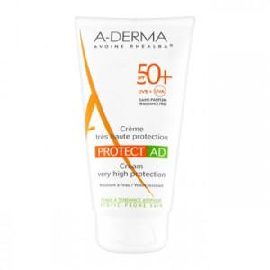 Aderma Protect AD - Crème Très Haute Protection SPF50+ 150 ml Pour peaux à tendance atopique Résistant à l'eau Sans paraben et  sans parfum