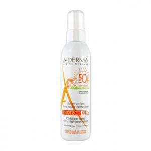 Aderma Protect Kids - Spray Enfant Très Haute Protection SPF50+ 200 ml Pour la peau fragile des enfants Résistant à l'eau Sans paraben