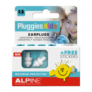 Alpine Hearing Protection Pluggies Kids - Bouchons d'Oreille Protection auditive pour enfant Hypoallergénique, sans silicone Stickers OFFERTS