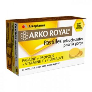 Arkopharma Arko Royal - Pastilles Adoucissantes pour la Gorge - Goût Miel Citron - 24 pastilles
