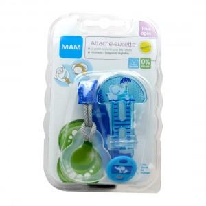 Mam Attache Sucette - Bleu Éléphant Tous âges Longueur réglable Lavable 0% BPA 9001616676949