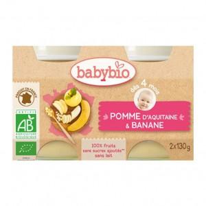 Babybio Petits Pots 100% Fruits BIO Saveur Pomme d'Aquitaine & Banane x2