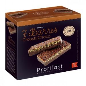 Protifast 7 Barres Crousti' Choco Phase 1 Vos barres hyperprotéinée pauvre en glucides et en lipides Indice glycémique bas