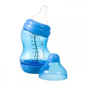 Difrax Biberon S - Wide Bleu 200 ml Réduit les risques de crampes intestinales, de renvois et de vomissements Sans BPA