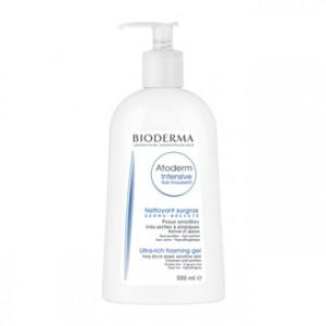 bioderma atoderm intensive gel moussant 500 ml nettoyant surgras peaux sensibles tres seches a atopiques nettoie et apaise