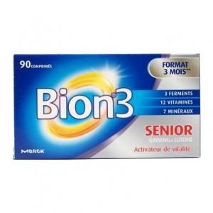 Bion 3 Séniors Boite de 90 Comprimés Format 3 mois Ginseng et lutéine Activateur de vitalité 3401546943184