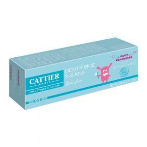 Cattier Dentifrice 2-6 ans - Goût  Framboise BIO - 50 ml Sans fluor 0% sulfate Respecte l'émail des dents 3283950912617