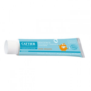 Cattier Dentifrice 7 ans + BIO - Goût Orange 50 ml Protection fluor 0% sulfate Respecte l'émail des dents