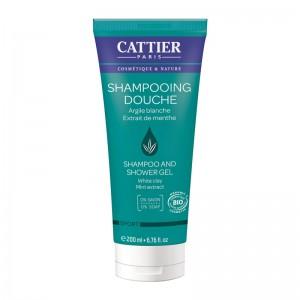 Cattier Shampooing Douche - 200 ml 0% savon pH physiologique A l'argile blanche et l'extrait de menthe