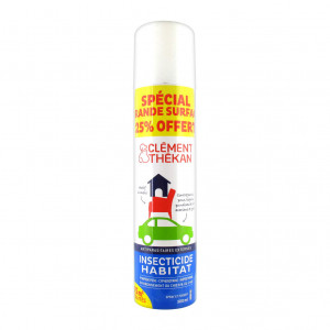 Clément Thékan Insecticide Habitat 300 ml Antiparasitaires externes Actif 6 mois Contre puces, poux, tiques, punaises de lit, acariens et gale